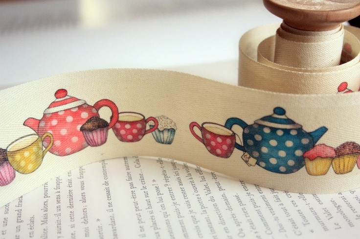 Tea and Cupcake Heaven Wide Cotton Tape.  via Etsy.