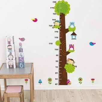 Altura Búhos Mono Árbol de la historieta Gráfico etiqueta de la pared del vinilo Kids Room Decor
