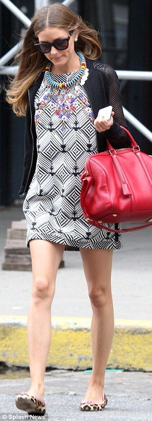 Pattern Mixing: Olivia Palermo wore a printed dress and animal print shoes