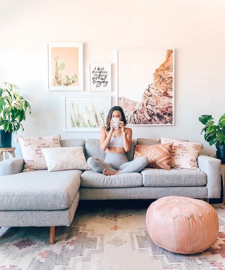 Blush and gray living room. Buy unique …