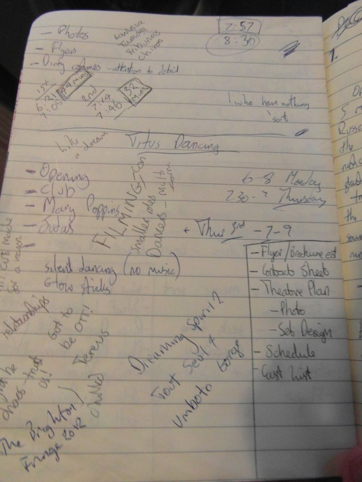 Karl's notes for a dance rehearsal!
