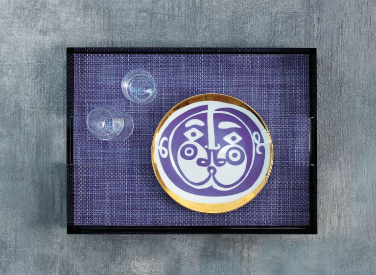 PROPS WITH CHILEWICH | RECTANGLE PLACEMAT IN PURPLE BASKETWEAVE | CHILEWICH MANHATTAN TRAY IN BLACK | ROGER CAPRON PLATE: 1ST DIBS AT NEW YORK DESIGN CENTER