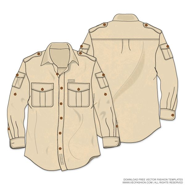 Men Bush Shirt or Safari Shirt Vector Template with Vintage Wash