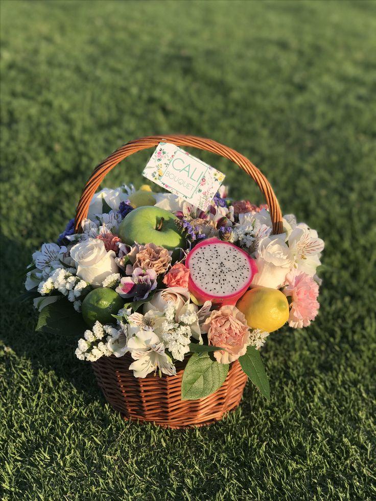 Cali bouquet fruit flowers basket 🍏🍋🍊🍐🍎