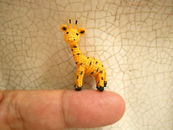 Mini Miniature Crochet Giraffe - Tiny Amigurumi Miniature Thread Animal Doll - Made To Order - https://www.facebook.com/different.solutions.page