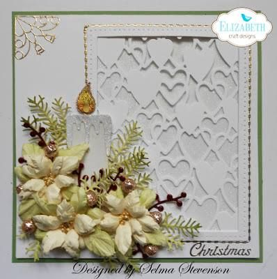 Join Selma Stevenson on her blog for this stunning Christmas card: http://selmasstampingcorner.blogspot.com/2016/11/christmas.html. Selma started her card front with Els van de Burgt's new Heart Background. She framed her background with Els's Stitched Rectangles. The background sparkles thanks to our Warm Diamond Silk Microfine Glitter. Selma embellished her card with Els's Candle accompanied by Susan's Garden Club Garden Notes dies. Visit the full post for supplies!