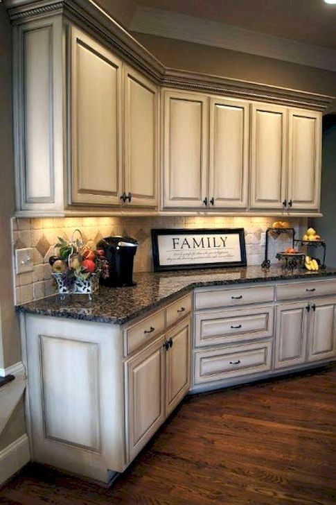 Nice 49 Affordable Farmhouse Kitchen Cabinets Ideas More At Https Homystyle Com Antique White Kitchen Antique White Kitchen Cabinets Rustic Kitchen Cabinets