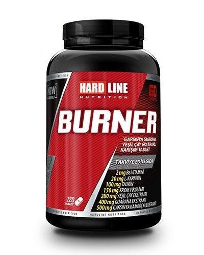 Hardline Burner 120 Tablet, zengin bir içeriğe sahip termojenik etkili yağ yakıcı, supplement ürünüdür. Hardline Burner guarana, yeşil çay ve garsinya kamboçya bitkisel kaynaklı karşımına ilave, karnitin, taurin ve krom pikolinat içeren yüksek performanslı bir gıda takviyesidir.