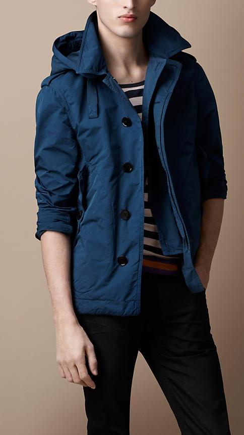 Lightweight hooded jacket in azure blue. Burberry