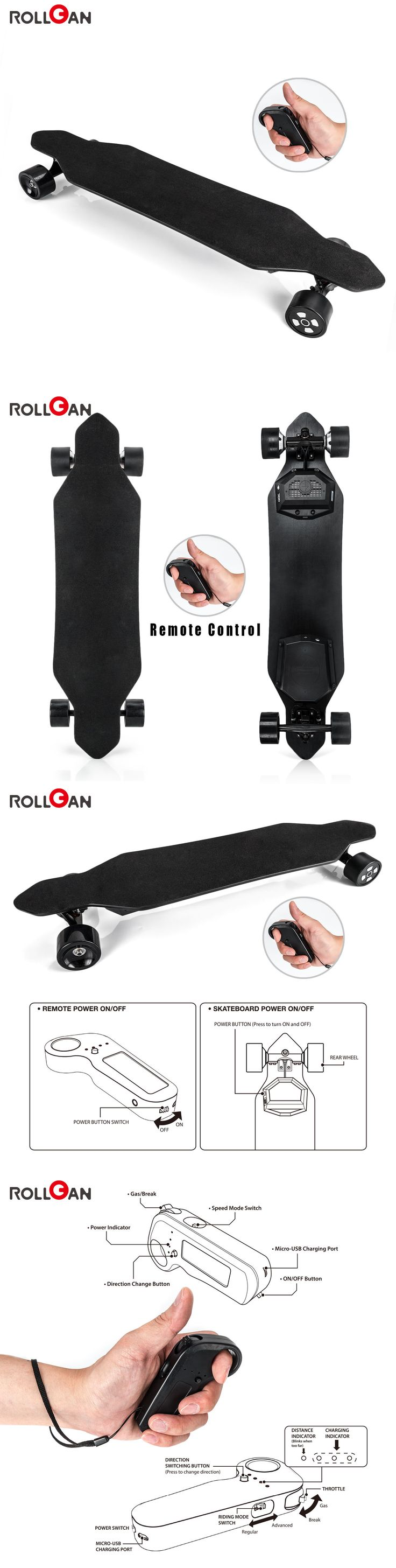 Skateboards-Complete 16264: Rollgan Electric Skateboard Wireless Remote Control Dual Hub Motor Longboard -> BUY IT NOW ONLY: $499 on eBay!