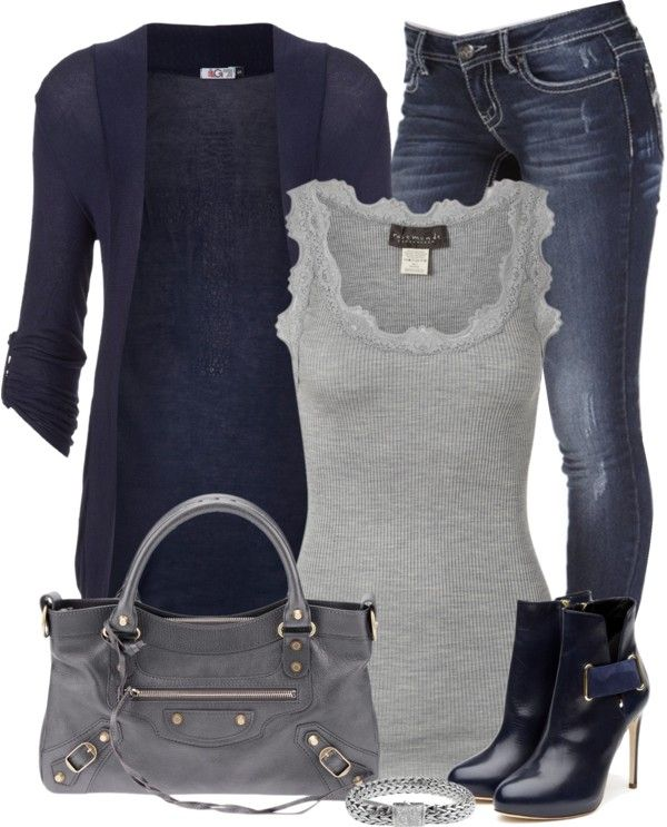 """""""Navy and Gray"""" by denise-schmeltzer ❤ liked on Polyvore"""
