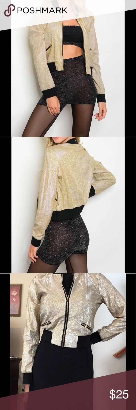 Sparkly Holiday Bomber Jacket Grab the 🥂 and go out for a night on the town in this sparkly number. This will be great for upcoming holiday parties or just to be a little flashy. This pairs well with dresses, skirts jeans, and would go nicely with the sparkly pumps also in my closet. Jackets & Coats