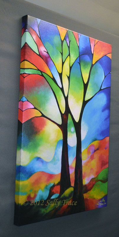Tree Print from my abstract tree painting, 24x36 inch giclee on stretched canvas, silhoette trees, stained glass wall art modern decor
