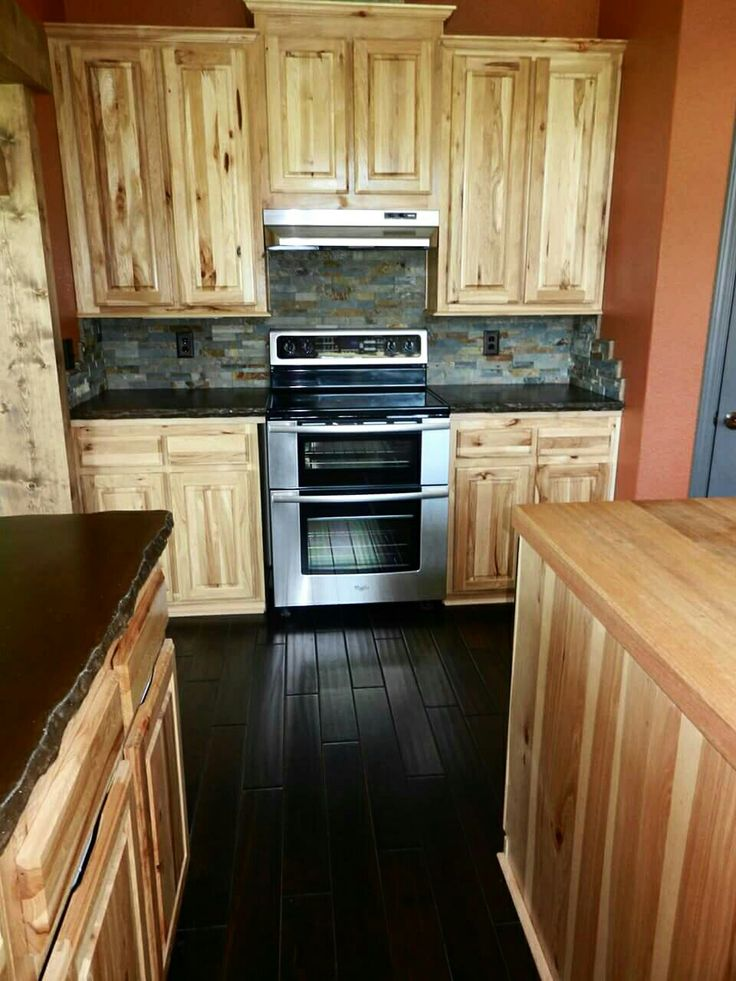 Hickory cabinets concrete counters and hand scraped Kitchen colors with natural wood cabinets