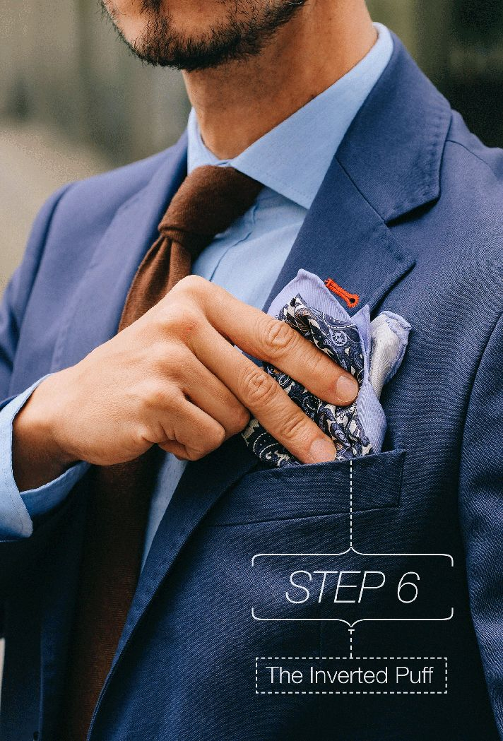 Step-6    Fancy, Dapper, Men, Smart, Blue Blazer, Ties, Pocket Squares, Tutorial, Folding, Sunglasses, Menswear, Mens Style, Fashion, Mens Fashion, Wardrobe, City Style, Close Up, RayBan, Belts, Close Up, @Spitz, GIF, Photography