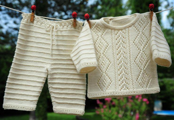 layette ensemble mérinos naissance-1 mois neuf tricoté main brassière et pantalon : Mode Bébé par com3pom