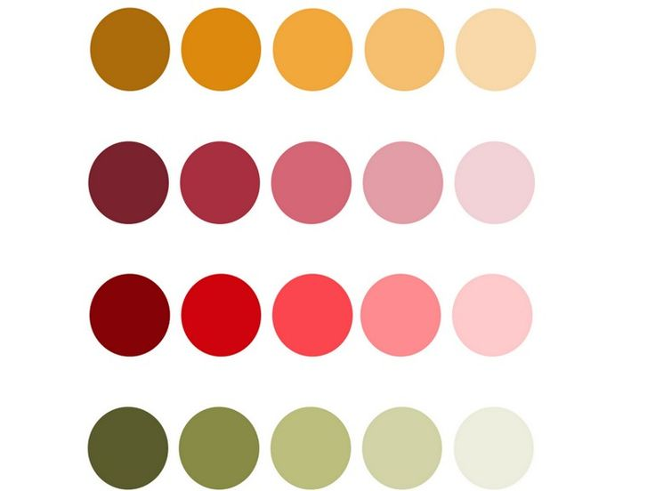 20 Fall wedding colors. Here are 4 Major colors with tints and shades of them for easy visualization for your fall wedding or any other fall inspired event.