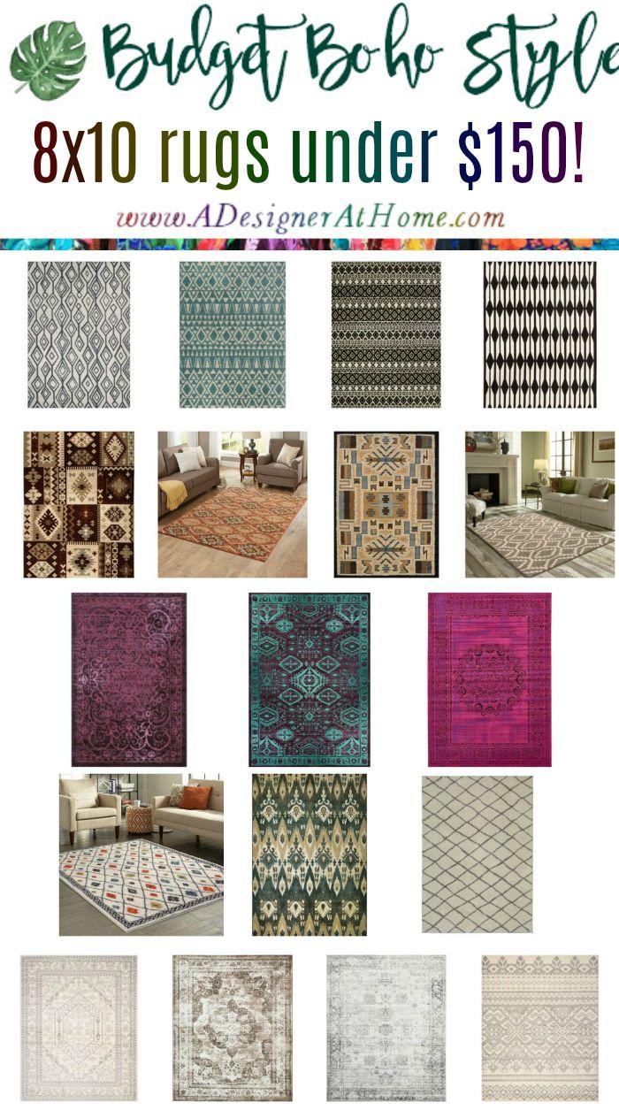 budget boho style 8x10 area rugs under $150 - all styles of boho @adesignerathome