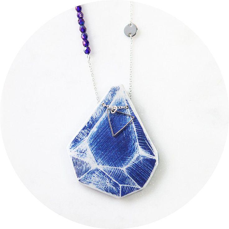 unique triangle art necklace - cyanotype rock by NEXT ROMANCE Melbourne, Australia