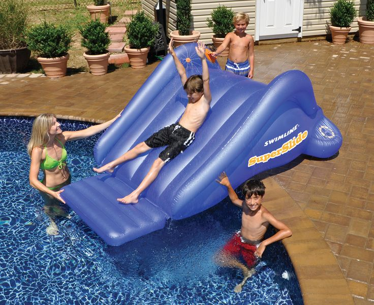 This big Super Slide inflatable pool toy from Swimline ensures many hours of fun for the kids around your pool. Made of heavy-gauge vinyl, the Super Slide is easy to set up and features a weighted wat