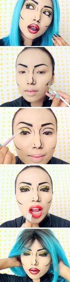 Tutorial de maquillaje pop art.  #Tutorial #Makeup #Fantasia