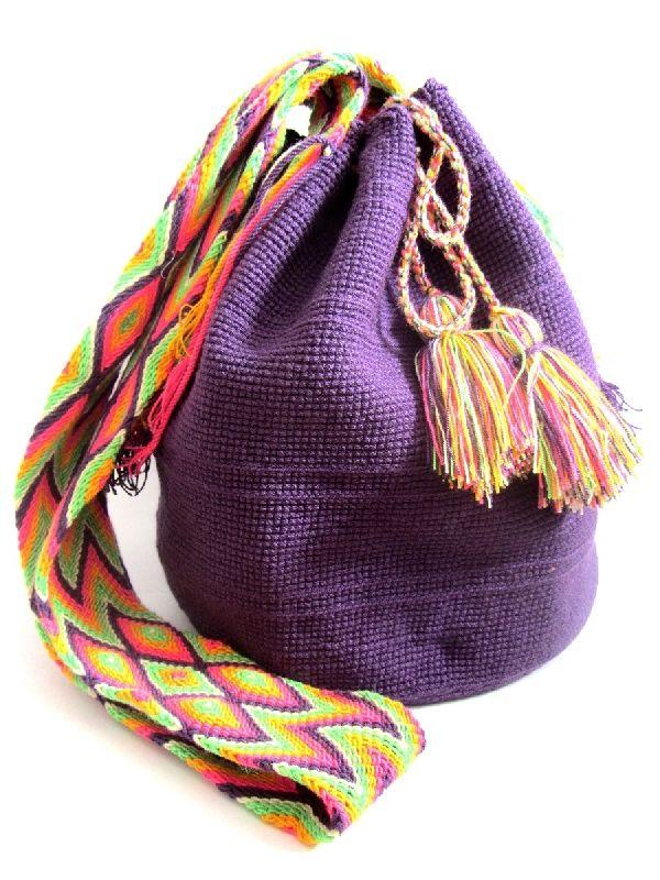 Wayuu mochila shoulder bag Uni pastel purple
