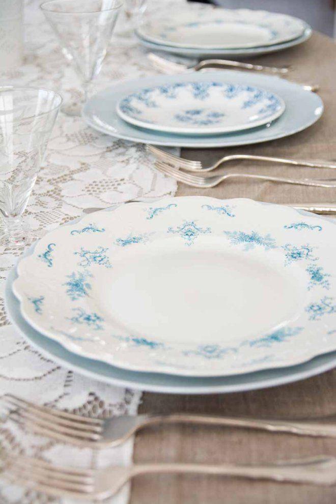 nydelig lyseblå #borddekking #vintage #table setting