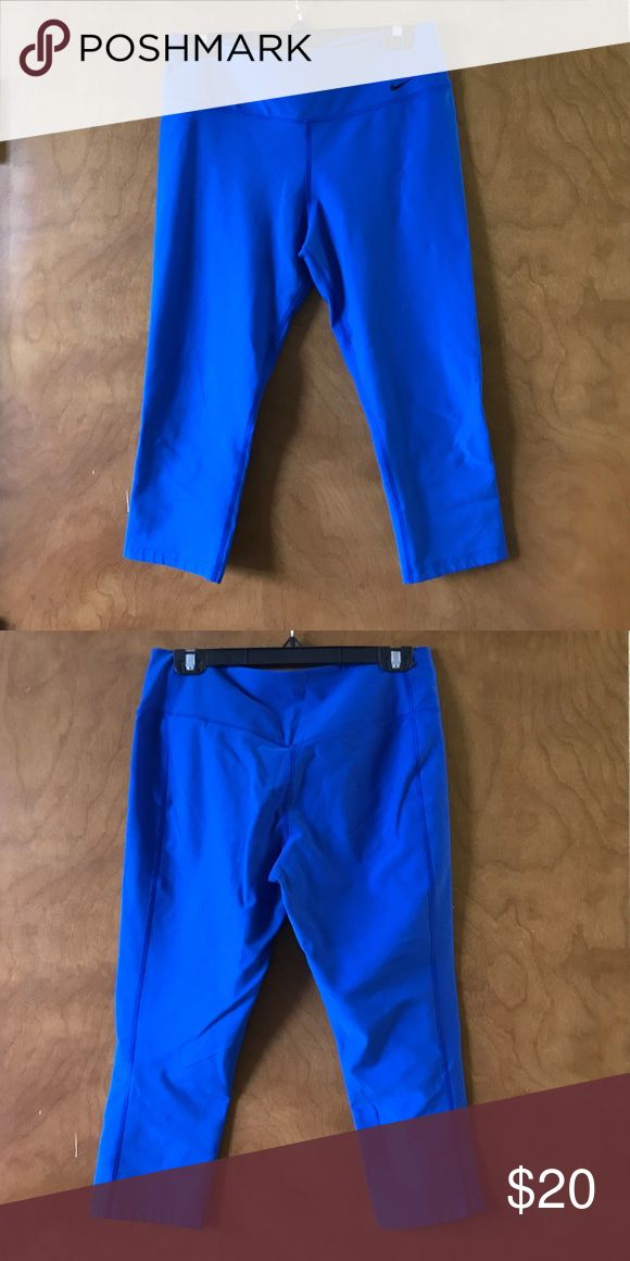 """Nike Electric Blue Capris Nike """"The Legend"""" in Electric Blue. Good condition. No pilling or split seams. Nike Pants Leggings"""