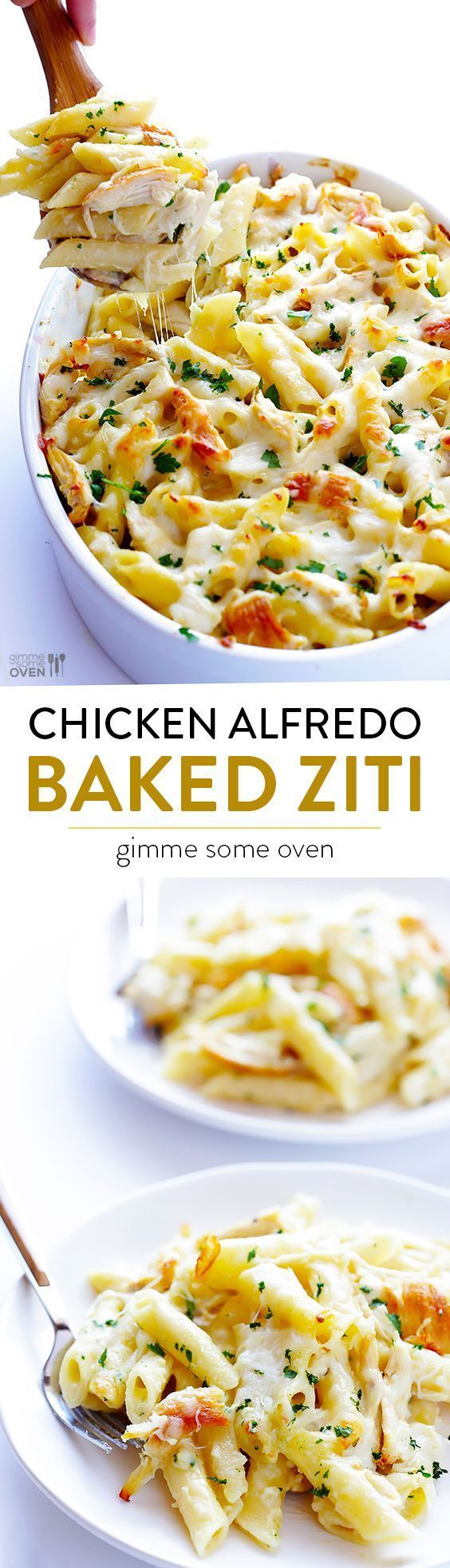 Chicken Alfredo Baked Ziti -- simple to make, made with a lighter alfredo sauce, and SO comforting and delicious | http://gimmesomeoven.com