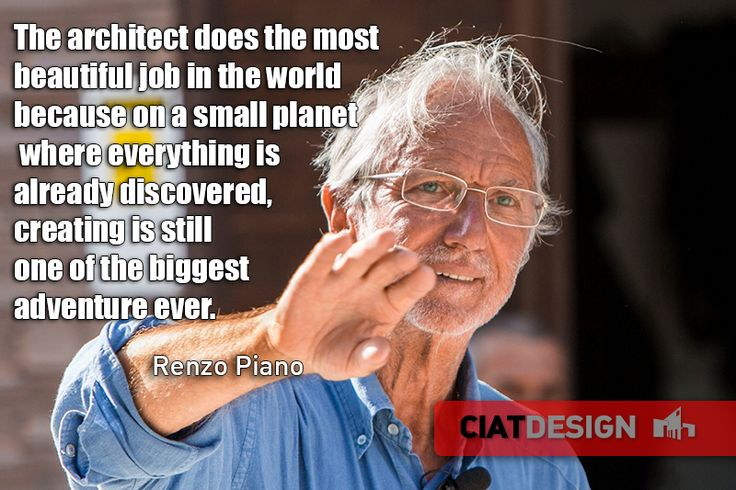 An italian architect worldwide famous. Renzo #Piano is now a legend.
