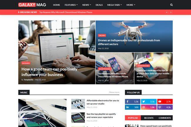 Galaxymag Responsive News Magazine Blogger Template In 2020 Magazine Blogger Template Free Blogger Templates Blogger Templates