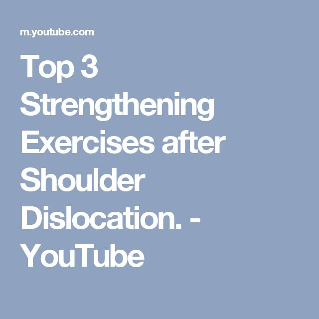 Top 3 Strengthening Exercises after Shoulder Dislocation. - YouTube