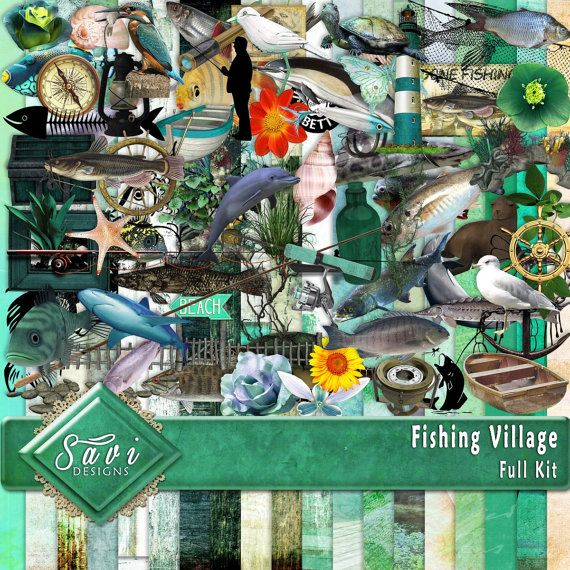 Digital Scrapbooking Kit FISHING VILLAGE Fish by SaviByDesign