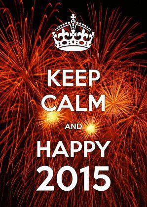 Keep Calm and Happy 2015. Met een foto van prachtig knallend vuurwerk. Binnenzijde ook voorwerk. Plaats evt foto, logo of stempels op de binnenzijde.