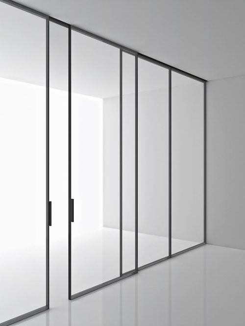 Super minimal sliding door and window frames for spaces up to 3m. in height. 'Green' by Piero Lissoni for Boffi. Very nice.