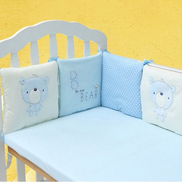 6 Pcs Cotton Infant/Baby Crib Bumper Pad w/Safety Protector; 7 Designs to Choose From