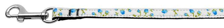 Nylon Dog Leash - Roses in Blue