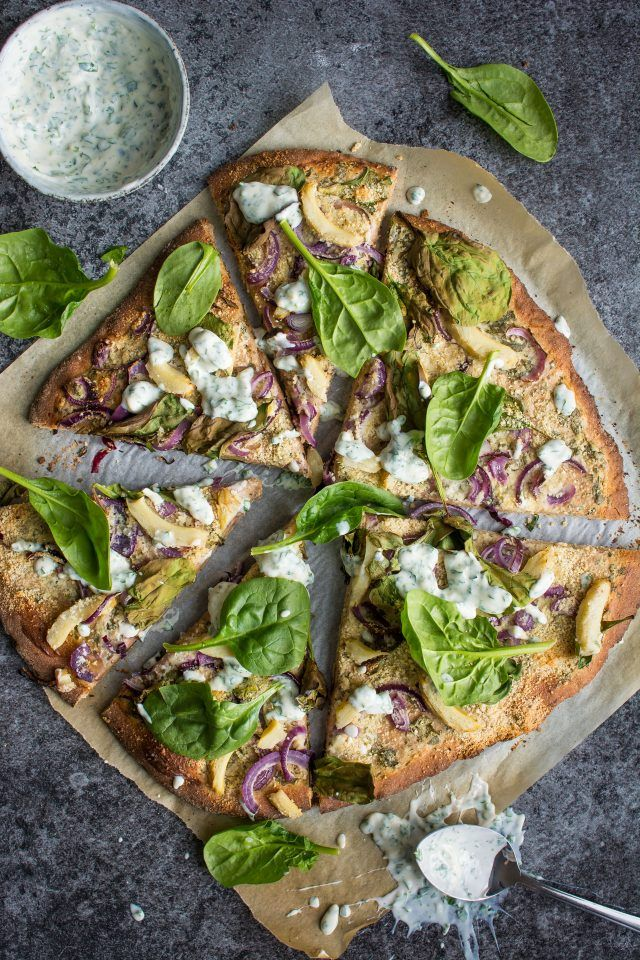 Vegan ranch pizza. This wholewheat base is topped with the creamiest vegan ranch sauce and topped with lots of great vegetables for a fun alternative to the regular tomato base.