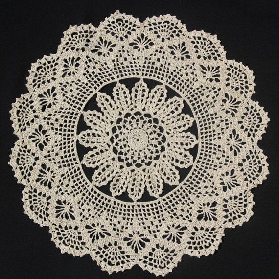 Ecru round crochet doily by NatureAnesthesia on Etsy
