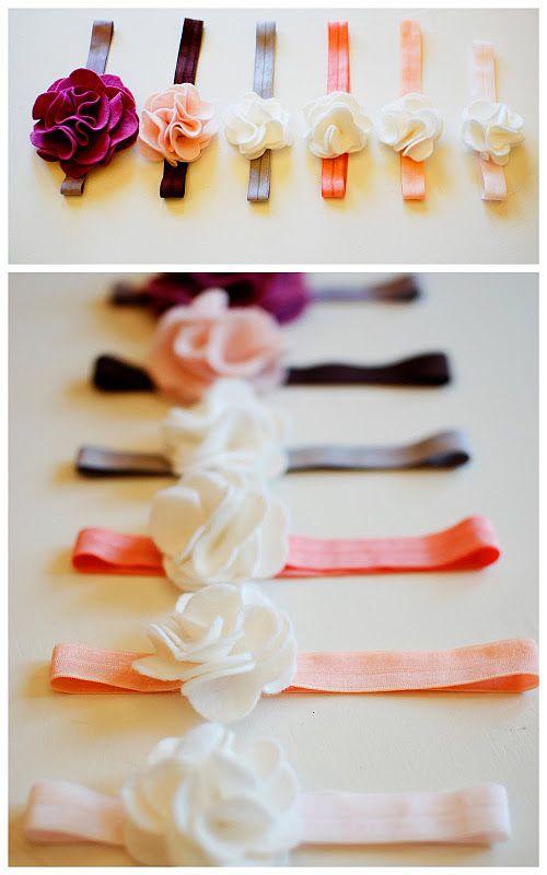 : Felt Flower Headbands, Diy Headband, Flower Headband Tutorial, Baby Girl, Head Band, Felt Headband, Felt Flowers