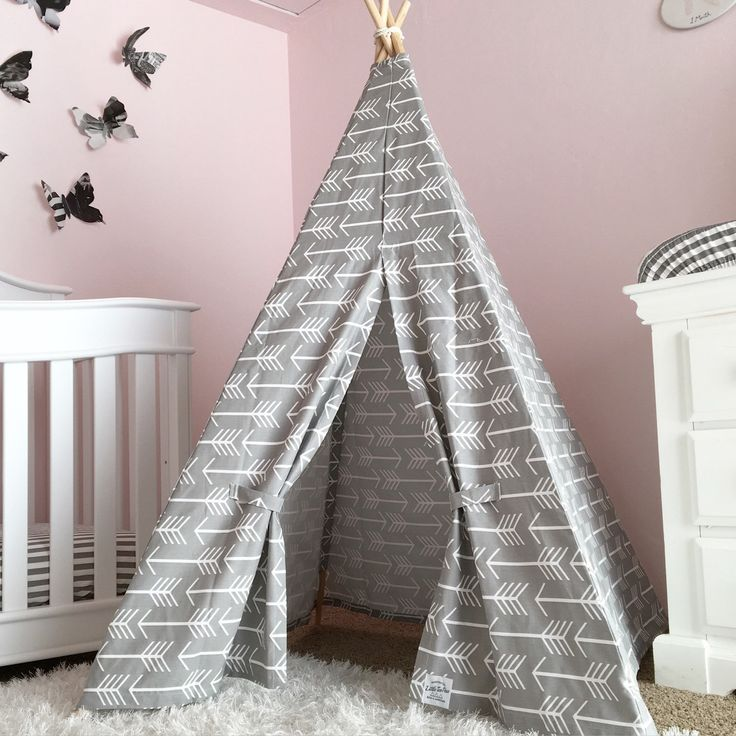 """:: Handmade in USA by Little Brave Ones, adorable kids tee pee made from light gray with arrows modern fabric + 4 wooden rods with rope. Can be used as a """"pop up"""" all natural tent or held in place wit"""