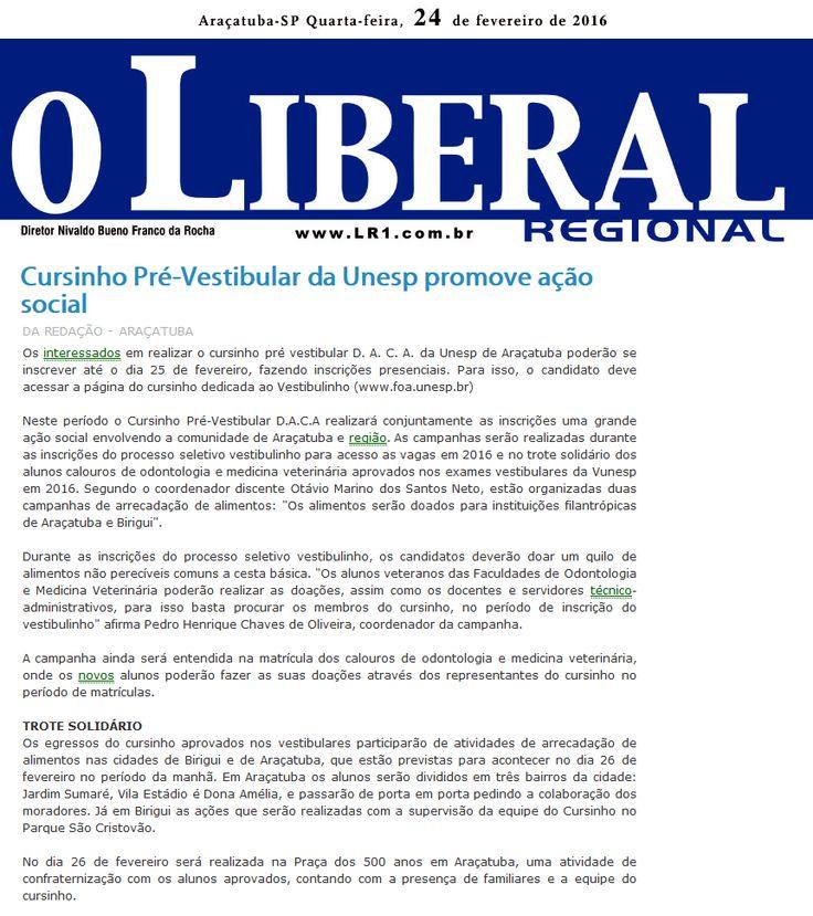 Cursinho Pré-Vestibular da Unesp promove ação social. Fonte: O Liberal