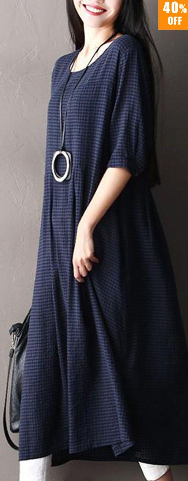 O-NEWE Plus Size Vintage Women Plaid Half Sleeve Dresses.#women #dresses #vintage