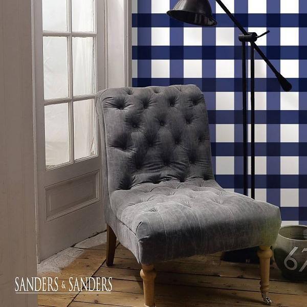 HD vliesbehang ruit marineblauw van de behangwinkelier!