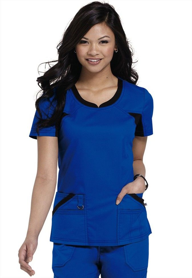 Dickies Performance System v-neck scrub top in royal blue