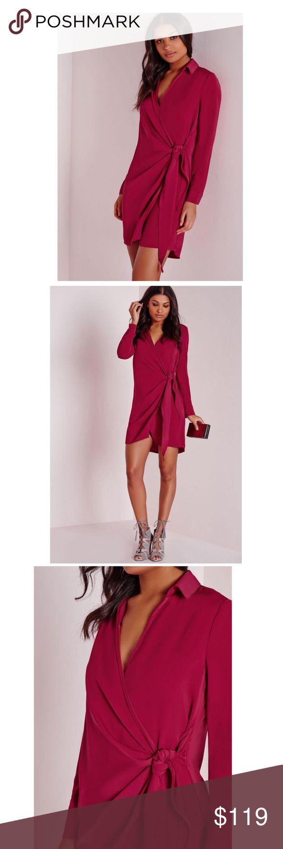 "🆕 Missguided UKCrepe wrap shirt dress/raspberry 🆕 Missguided UKCrepe wrap shirt dress/raspberry/Get the Look this Season in this totally fierce wrap over shirt dress/in a figure flattering luxe fabric in a killer raspberry hue with long sleeves and wrap tie front details this one will have you hot to trot. get that glamorous feel and team up with some barley there heels and a matching clutch for a sleek evening style. approx length 89cm/35"" /Material 95%Poloyester;5%Elastane/Model wears UK…"