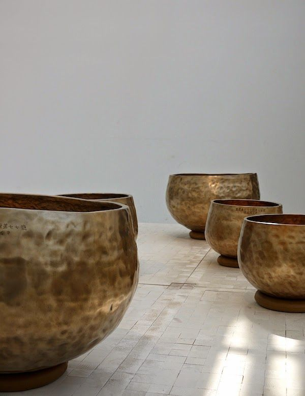 Triennale, Salone del mobile 2014: bangjja meditation bowl bells, hand-beaten brassware made with a tin and copper alloy | photography vosgesparis