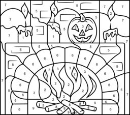 Hard Color by Number Pages | Fireplace - Printable Color by Number Page - Hard