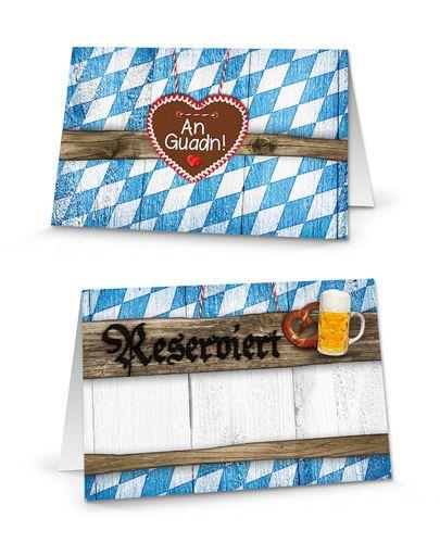 25 Stück blau weiß karierte bayerische RESERVIERT-SCHILDER Tisch-Austeller Klapp-Karten kleine Kärtchen für die TISCH-Reservierung der Gäste zum Oktoberfest - MIT JEDEM STIFT BESCHREIBBAR!