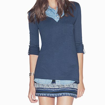 Crescent:  Deep V-neck #Henley. 3/4 length #sleeve with roll tab detail. #peacot #blue